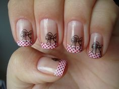 French tip polka dots with bow decals nail design