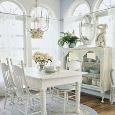 vintage style white dining room