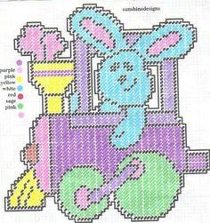 Easter Train Plastic Canvas Ornaments, Plastic Canvas Tissue Boxes, Plastic Canvas Crafts, Plastic Canvas Stitches, Plastic Canvas Patterns, Needlepoint Patterns, Cross Stitch Patterns, Halloween Train, Pokemon