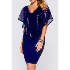 Stylish V Neck Sequins Spliced Women's Bodycon Dress - Sapphire Blue