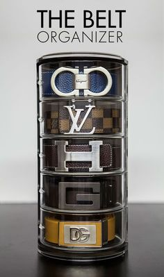 The Belt Organizer - Fancy organizer for rolled up belts, stores on dresser top, mounts on the wall. Showcase your designer belts, Hermes, Salvatore Ferraga