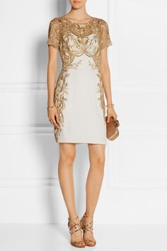 Marchesa Notte | Embroidered tulle and silk-crepe mini dress | NET-A-PORTER.COM