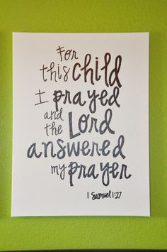 Custom Painted Canvas Wall Art  For This Child I Prayed  by jacyk, $50.00