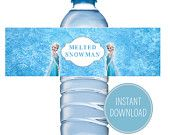 Personalized water bottle - Frozen themed party favors - Fun kids birthday ideas