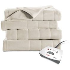 Sunbeam Queen Electric Heated Fleece Blanket Seashell Dual Controls 5 Settings  #Sunbeam #Contemporary