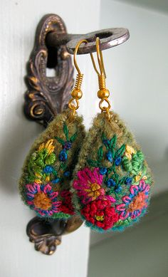 earrings. Or could be used as key fobs or anything really, so textile student.