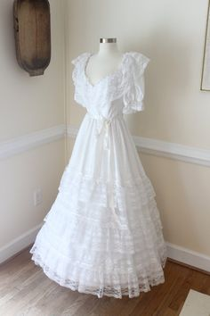 All White Southern Belle Dress White Wedding by ChippedGREENchair