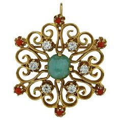 Emerald Coral Diamond Gold Brooch   From a unique collection of vintage brooches at https://www.1stdibs.com/jewelry/brooches/brooches/