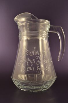 Personalised glass jug hand engraved with your own message by CoveCalligraphy