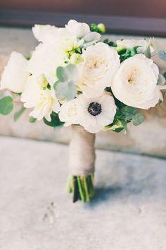 anemone and garden rose bouquet, photo by Lisa Poggi http://ruffledblog.com/tuscany-destination-wedding #flowers #weddingbouquet