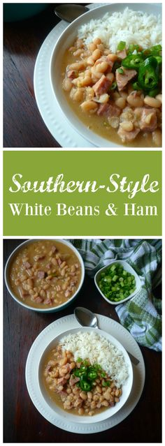 Nothing quite adds a little Southern goodness in your mouth like a big ole pot of slowly simmered Southern-Style White Beans and Ham topped with fresh sliced garden fresh green onions, diced jalapeño peppers , and served with freshly cooked collard greens and a nice warm buttery slice of cornbread.