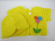 Baby Sweater with turban hat, 3-6 Month Baby Girl Cardigan, Yellow sweater with flowers, baby shower gift, Crochet gift idea, Gifts under 35
