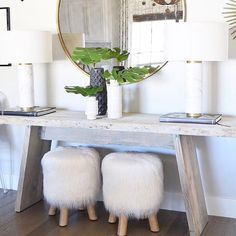 """5,950 Likes, 27 Comments - Pottery Barn (@potterybarn) on Instagram: """"We spy our Mongolian Faux Fur Stool so perfectly tucked under a console in the entry of…"""""""
