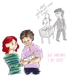 """[Image: A greyscale drawing of Bruce Banner touching a cradle and saying """"i don't always get what I want…"""" Below, a colored image of Natasha Romanoff and Bruce Banner standing together; Bruce is holding a baby, and Natasha is touching Bruce's arm. Caption: """"but sometimes I get lucky.""""] gwenstacy: here's the first from that doodle dump!! which is some more brucenat for samsy~ OKAY SAMMY this is because i was reading this fic that talked about that ..."""