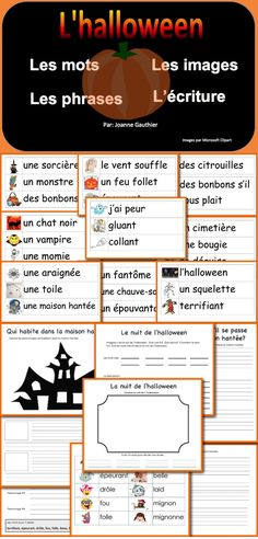 This Halloween resource helps to develop French vocabulary, gives reading practice using the new words in context, and provides writing activities that lead up to students writing their own Halloween story - Halloween Vocabulary, Halloween Worksheets, French Teaching Resources, Teaching French, How To Speak French, Learn French, French Practice, French Language Learning, Foreign Language
