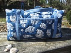 Quilted Duffle Bag Blue Sea Shells by ISewTotes on Etsy