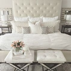 Neutral glamorous bedroom
