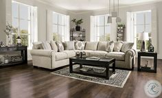 Savesto Ivory Small RAF Sectional from Ashley   Coleman Furniture Transitional Sectional Sofas, Beige Sectional, Corner Sectional, Beige Living Rooms, Living Room Sets, Living Room Furniture, Living Spaces, Furniture Direct, Furniture Deals