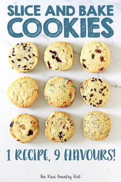 Easy Slice and Bake Cookies (with 9 flavour ideas!) - - This recipe for easy slice and bake cookies comes with 9 flavour ideas! Perfect for school lunches or homemade gifts, the cookie dough can be made in advance and frozen for cookies in a snap! Freezer Cookie Dough, Freezer Cookies, Cookie Dough Recipes, Sugar Cookies Recipe, No Bake Cookies, Baking Recipes, Dessert Recipes, Freezer Biscuits Recipe, Cookie Dough To Freeze