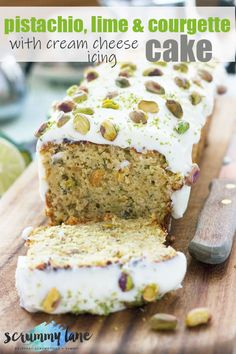 This pistachio, lime and courgette (zucchini!) loaf cake is light, zingy and summery. The cream cheese lime icing on the top takes it from good to heavenly! #cake #zucchinibread #courgettes Loaf Recipes, Baking Recipes, Cake Recipes, Dessert Recipes, Drink Recipes, Sweet Recipes, Zucchini Loaf, Pan Relleno, Lime Cream