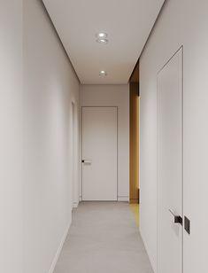 Project with modular shelves on Behance Scandinavian Interior Doors, Modern Interior, Interior Architecture, Interior Design, Corridor Design, Modular Shelving, Hallway Designs, Apartment Projects, Shelves