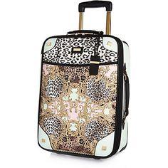 Pink baroque leopard print wheelie suitcase £65.00