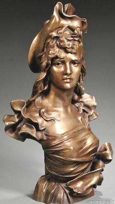Bronze Sculpture; Nelson (Anton), inscribed, Bust of Art Nouveau Maiden, 27 inch.