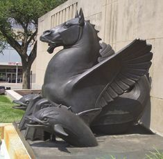 Hippocamp, a sea creature with the fore-parts of horses and the tails of fish, at the City Hall of Kansas City.
