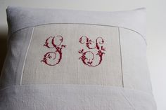 Vintage linen pillow case with cross stitch red monograms S.Y. - 16 x 16 unbleached linen pillow cover - upcycled reclaimed repurposed. $33.00, via Etsy.