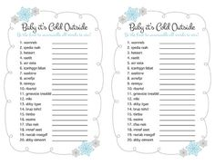Baby Shower Game Printable  Baby It's Cold Outside by AMomentRemembered