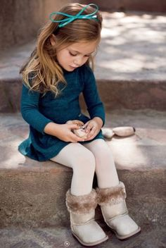 Teal Dress with White tights and Fur Trimmed Boots Little Girls Outfit