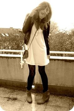 Brown Leather Boots, Black Tights, White Dress, Black Leather Jacket, Black Chain, Brown Vintage Bag