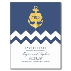 Nautical gold anchor navy chevron save the date