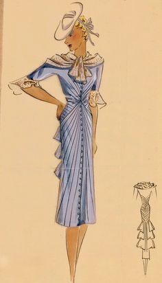 Ca 1937 fashion illustration. Fashion Illustration Dresses, Fashion Illustration Vintage, Fashion Sketches, Fashion Illustrations, Art Sketches, Vintage Dress Patterns, Vintage Dresses, Vintage Outfits, Vintage Clothing