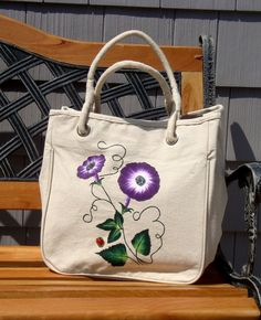 Tote With Painted Flowers and Ladybug Charm
