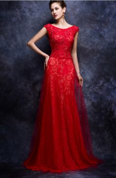 Red scoop neck evening dresses.  Cap sleeve mother of the bride evening gowns.  a-line formal dresses for the mother of the bride.