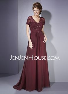 Mother of the Bride Dresses - $157.69 - A-Line/Princess V-neck Sweep Train Chiffon  Charmeuse Mother of the Bride Dresses With Lace  Beading (008005974) http://jenjenhouse.com/A-line-Princess-V-neck-Sweep-Train-Chiffon--Charmeuse-Mother-Of-The-Bride-Dresses-With-Lace--Beading-008005974-g5974