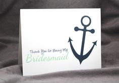 Reserved for Lyndsay 7 Bridesmaid Thank You Card for Nautical Wedding with Anchor, Personalize Colors - pinned by pin4etsy.com