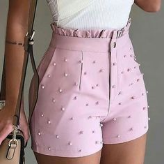 Women Shorts Summer 2020 Black High Waist Shorts Jeans Plus Size Casual Pearls Shorts Mode Outfits, Short Outfits, Summer Outfits, Short Dresses, Casual Outfits, Casual Shorts, Pants To Shorts, Wrap Pants, Summer Shorts