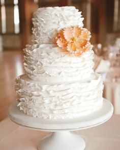 Tiered vanilla cake with fondant ruffles