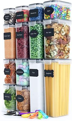 Amazon.com: Chef's Path Airtight Food Storage Container Set - 14 PC - Kitchen & Pantry Organization - BPA-Free - Plastic Canisters with Durable Lids Ideal for Cereal, Flour & Sugar - Labels, Marker & Spoon Set: Home Improvement Pantry Organization Labels, Pantry Storage, Kitchen Storage, Organization Ideas, Storage Organizers, Container Organization, Closet Storage, Jewelry Organization, Storage Ideas