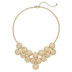 Openwork Disc Statement Necklace, Gold
