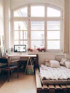 Wonderfully setup bedroom workspace.