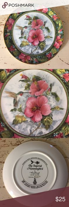 "Limited Edition Hummingbird Collector Plate Franklin Mint Limited Edition Hummingbird Collector Plate, ""The Imperial Hummingbird"", #MV6468. No box, will be bubble wrapped for shipping. This is stunning, see photos! Selling my collection to pay medical bills. Franklin Mint Other"