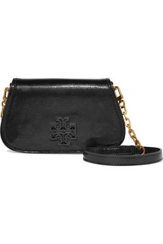 TORY BURCH Britten patent textured-leather shoulder bag. #toryburch #bags #shoulder bags #patent #