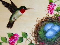 Hummingbird and nest.  One Stroke Painting by Susan Earl.
