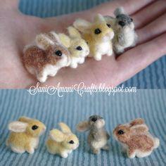 Needle felted bunny family miniature. I wish I could needle felt.