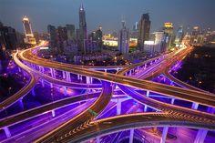 Shanghai  Intersection of Yanan Zhong Lu and Chengdu Lu / Chongqing Lu