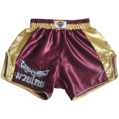 Muay Thai Fight Kick Boxing Shorts Satin Sport MMA Kickboxing Purple#KMRS-005
