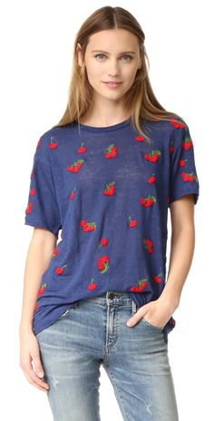 Banner Day Embroidered Cherries Tee   SHOPBOP